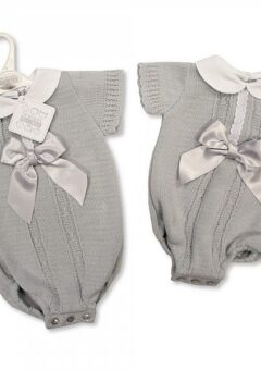 Knitted baby romper grey